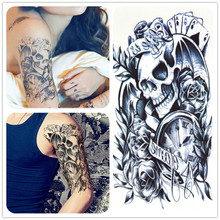 HB Arm Series Sexy Lady Temporary Waterproof Tattoo Stickers,fashion Skull Pattern Sexy Male And Female Temporary Tattoos Decals