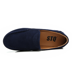 Image 4 - STQ 2020 Autumn Women Flat Platform Sneakers Leather Suede Moccasins Shoes Ladies Blue Casual Oxford Shoes Slip On Flats 3213