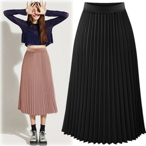 Image 5 - ARiby Women Long Pleated Skirt faldas mujer moda 2019 New Summer Chiffon Sweet Solid Pleated Skirt Elastic Waist Empire Skirt