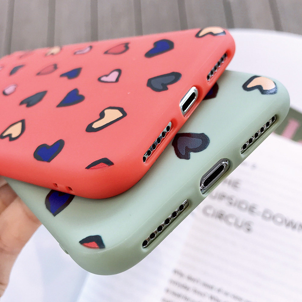 KIPX1116_4_JONSNOW Phone Case for iPhone X XS XR XS Max 6 6S 7 8 Plus Painted Heart Leopard Style Frosted Soft Silicone Cover Cases Capa Fundas