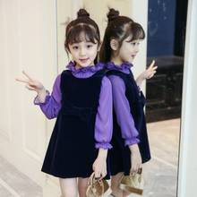 Girls dress new children's clothing big children spring and autumn long-sleeved dress suit baby girl clothes цены онлайн