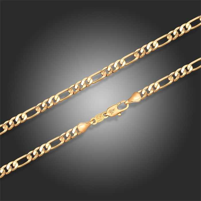 "Yellow or White Gold Color Figaro Chain Long Necklace Men Jewelry 60cm 24"" width 4mm Fashion Collares Women Kolye Hiphop Punk"