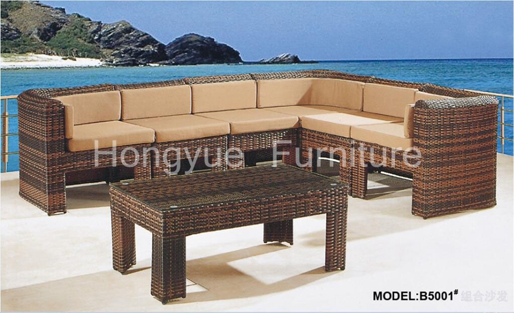 Brown rattan garden corner sofa furniture set with cushions