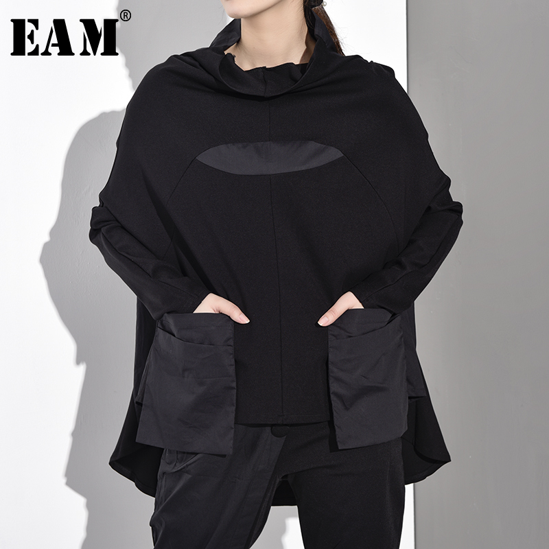 [EAM] 2020 New Spring Autumn High Collar Long Sleeve Black Hit Color Pocket Split Joint Big Size Sweatshirt Women Fashion JQ0180