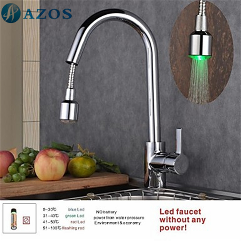 Kitchen Sink Faucets Led Light Swivel Hose Pull Out Down Spray ...