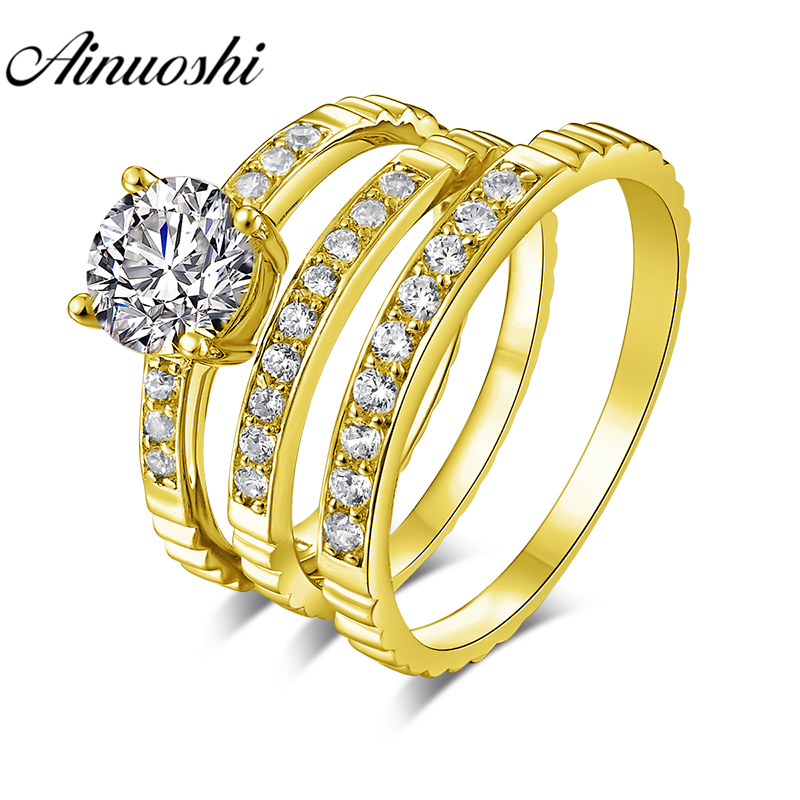 AINUOSHI 5.5g Real Gold TRIO Rings 10k Yellow Gold Couple Wedding Ring Set Lines Band Lover Engagement Wedding Rings JewelryAINUOSHI 5.5g Real Gold TRIO Rings 10k Yellow Gold Couple Wedding Ring Set Lines Band Lover Engagement Wedding Rings Jewelry
