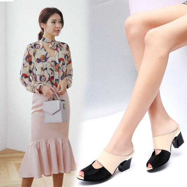 Kadın Moda Balık Ağzı Kadın sandalet Rahat Sığ Kalın Alt Set Ayak