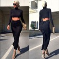 2017 New Fashion Women Sets Two Pieces Suit Long Sleeve Turtleneck Tops Ruched Pleated Slim Skirt Crop Top and Skirt Set Women