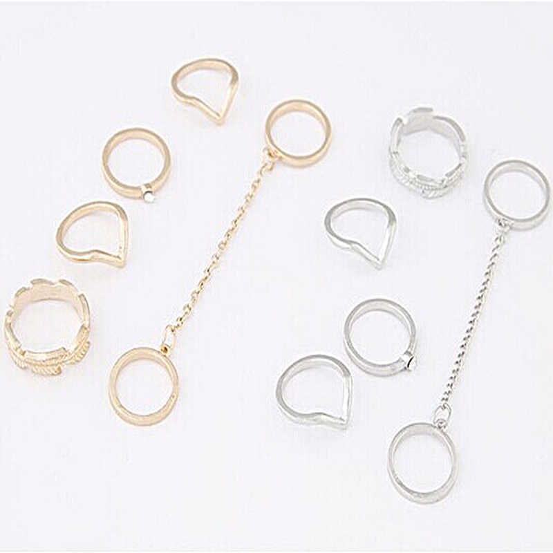 6 pcs/set Leaf V Shape Chain Connecting Crystal Matching Knuckle Rings Golden Silver Midi Rings for Women