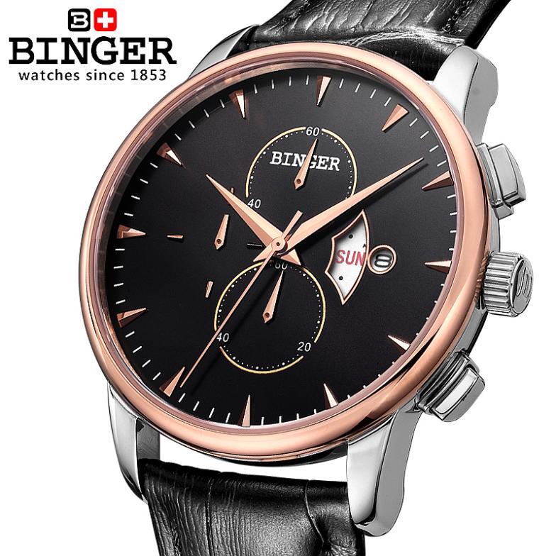 BINGER Watches Men Chronograph Luxury Brand Gold Waterproof Quartz BG-0404-5 Strap Switzerland
