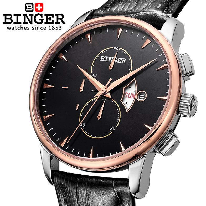 Switzerland watches men luxury brand Wristwatches BINGER 18K gold Quartz watch leather strap Chronograph waterproof BG-0404-5 switzerland binger men s watch luxury brand tonneau quartz waterproof leather strap wristwatches b3038