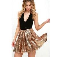 Vrouwen Sequin Rok Sexy Hoge Taille Party Glitter Mini Rok goud Pailletten Vrouwelijke Rok 2017 Zomer Stijl Faldas Korte Saia Custom