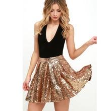 Women Sequin Skirt Sexy High Waist Party Glitter Mini Skirt Gold Sequins Female Skirt 2017 Summer Style Faldas Short Saia Custom