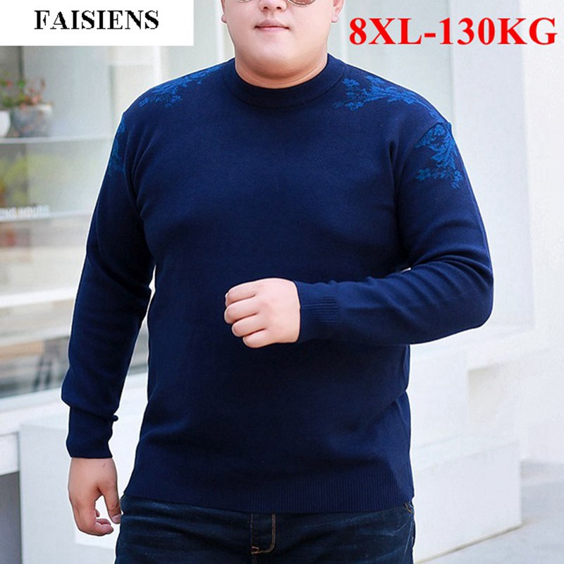 FAISIENS Warm Winter Casual 6XL Large Size Men's Sweaters O Neck Long Sleeve Plus Size 7XL 8XL Loose Blue Male Knitted Sweater