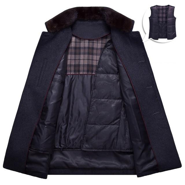 MUDI Wool Blends Men Coats Down Liner Detachable With 50% Wool Overcoat Mid-long Warm Male Jacket Slim Top Quality Coat Oversize 2