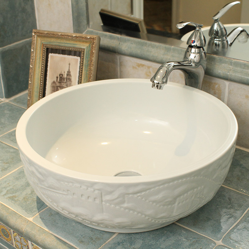 China Hand Carved The Great Wall Design Ceramic Washbasin For Bathroom Basin