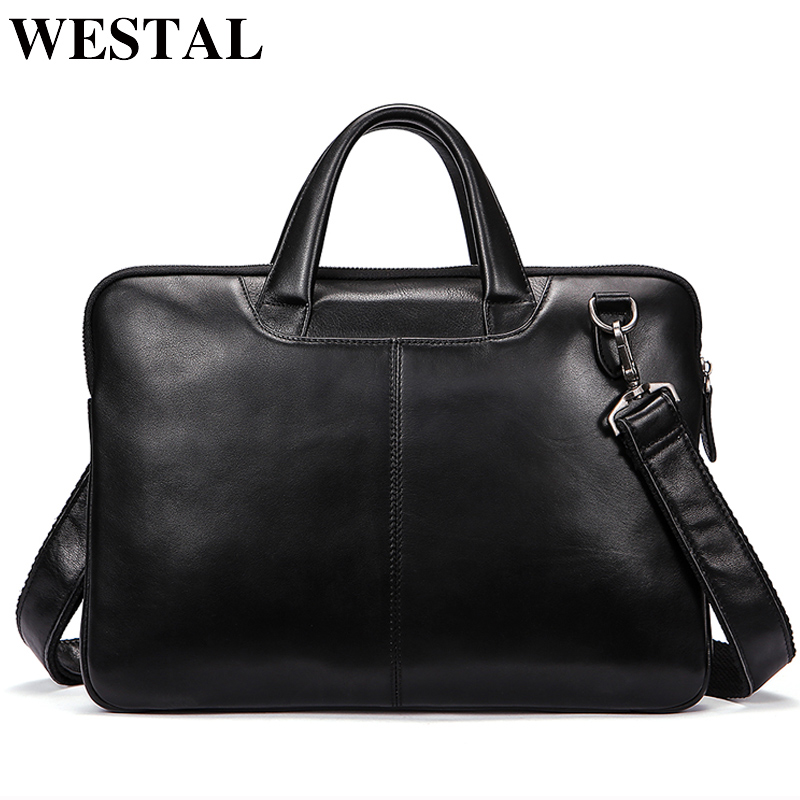 33e5bf4e091a WESTAL Мужская сумка из натуральной кожи 14 дюймов портфели для ноутбуков  сумки через плечо для мужчин
