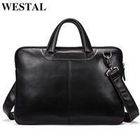 WESTAL men's bag genuine leather messenger bag men leather laptop briefcase for men computer bags men briefcases for laptop 392