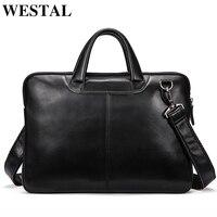 WESTAL men's bag genuine leather messenger bag men leather laptop briefcase for men computer bags men briefcases for laptop 392