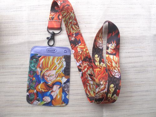 1 pcs Dragon Ball Z Goku <font><b>Sayajins</b></font> Maste Named Card Holder with Lanyard Neck Strap Card Bus ID Holders With Key Chain M09 image