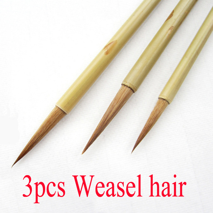 3pcs small Calligraphy Brushes pen Weasel hair Line brush long tip brush for artist painting calligraphy art supplies