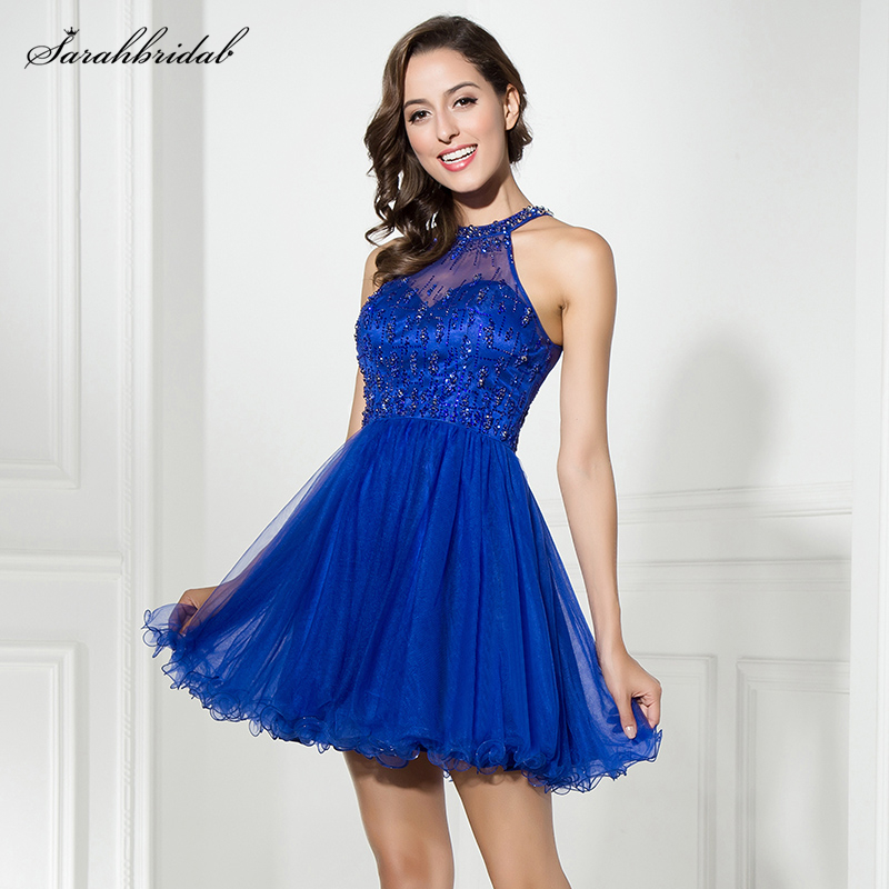 В наличии Королевского синего цвета, короткие платья для выпускного вечера с высоким воротником со стразами для ежегодной встречи выпускни