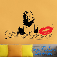 Free Shipping Marilyn Monroe Kiss Wall Decal Stickers Decor Easy Removable Sticker for Home Decoration size 92x58cm