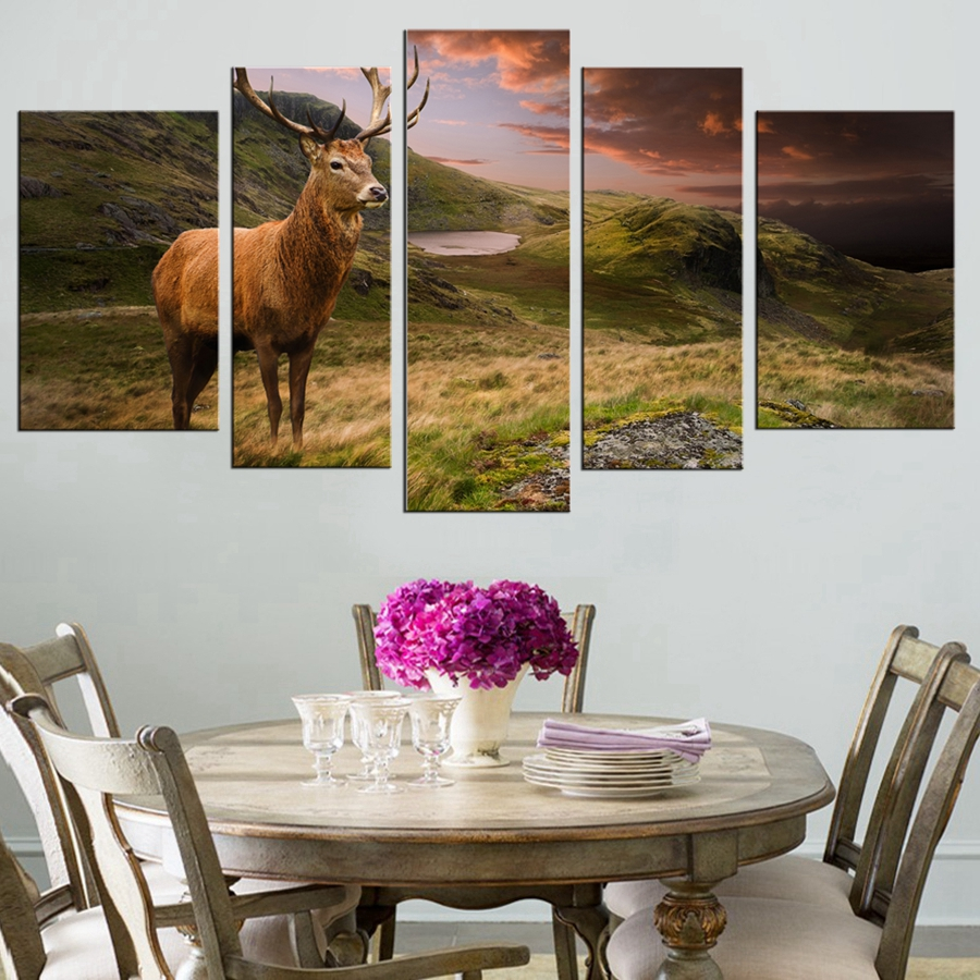 wall art red deer stag in moody dramatic mountain sunset