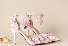 Purple tassel paillette wristband bridal Shoes Ultra High Heels Thin heels Formal Dress Shoes Women s