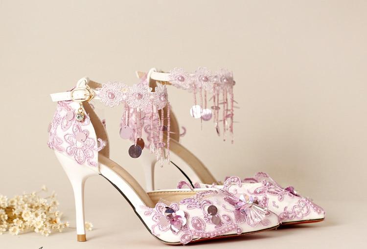 Purple tassel paillette wristband bridal shoes ultra high heels thin heels formal dress shoes font b