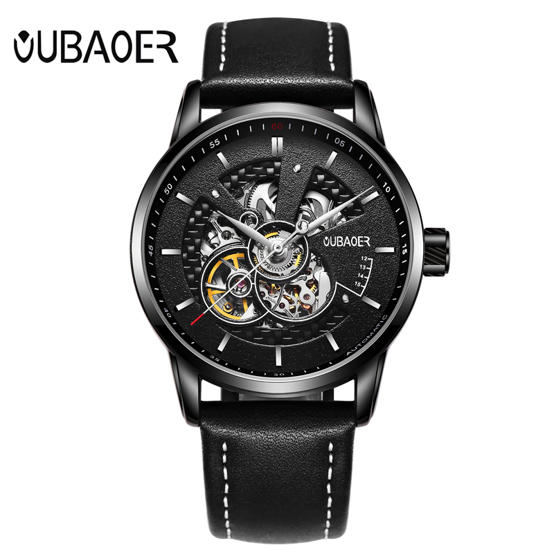 OUBAOER Men Watch Top Brand Luxury Automatic Mechanical Watch Men Leather Business Sport Skeleton Watches Relogio Masculino unique smooth case pocket watch mechanical automatic watches with pendant chain necklace men women gift relogio de bolso