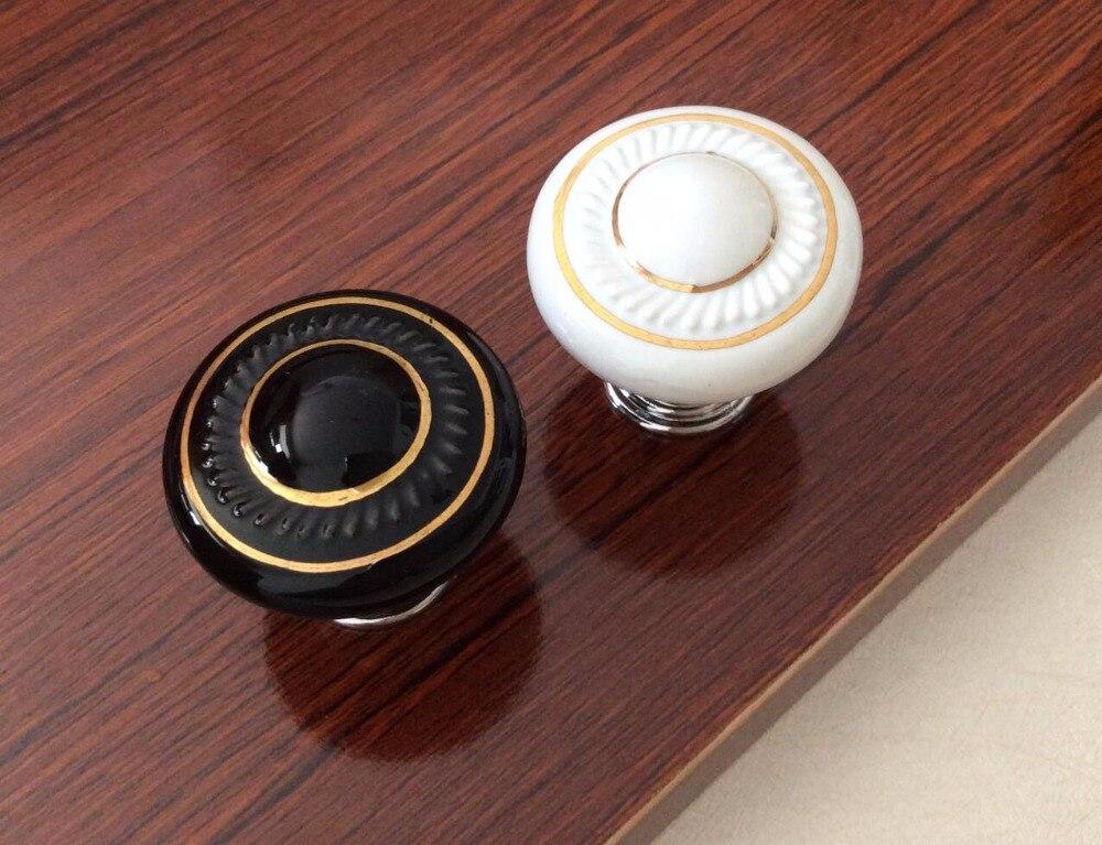 US $2.88 10% di SCONTO|Nero/Bianco Campagna Pomelli In Ceramica Cassetto  Manopole Maniglie Manopole Armadio Da Cucina/Dresser Maniglie Hardware ...