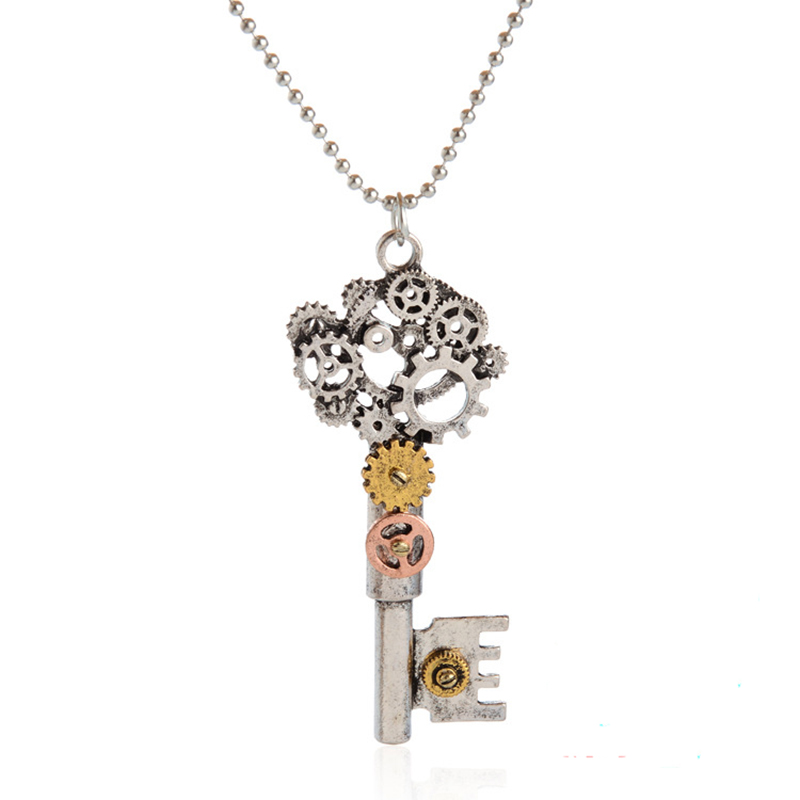 ISINYEE Fashion Crystal Key Heart Anker Hanger Beaded Chain Steampunk - Mode-sieraden - Foto 6