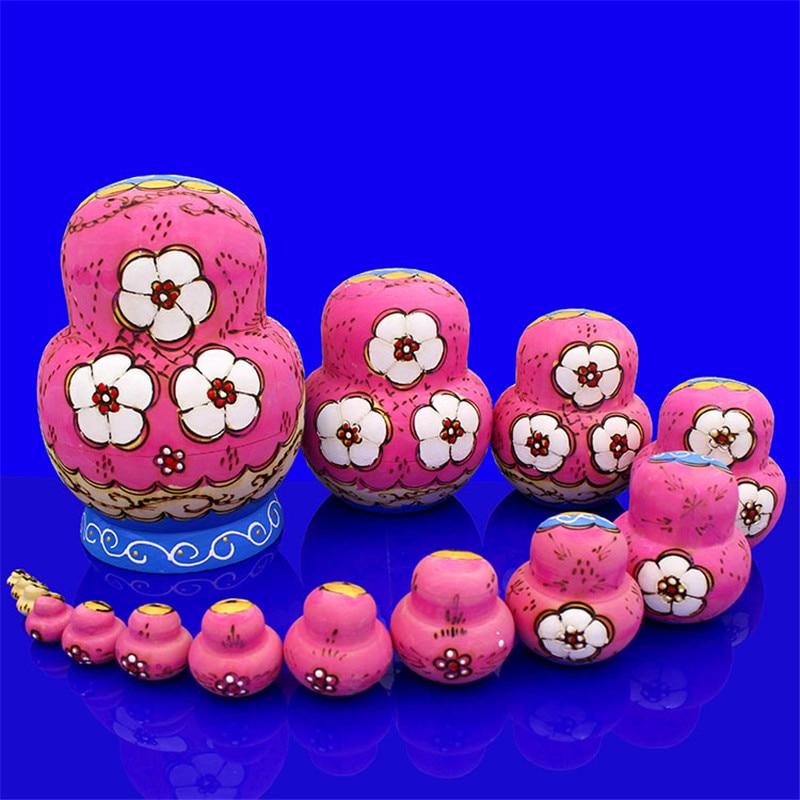 Mnotht 15 couches sec tilleul russe nidification poupées bleu & rose Eudcation bricolage Matryoshka poupée peint à la main en bois jouets L30 - 2
