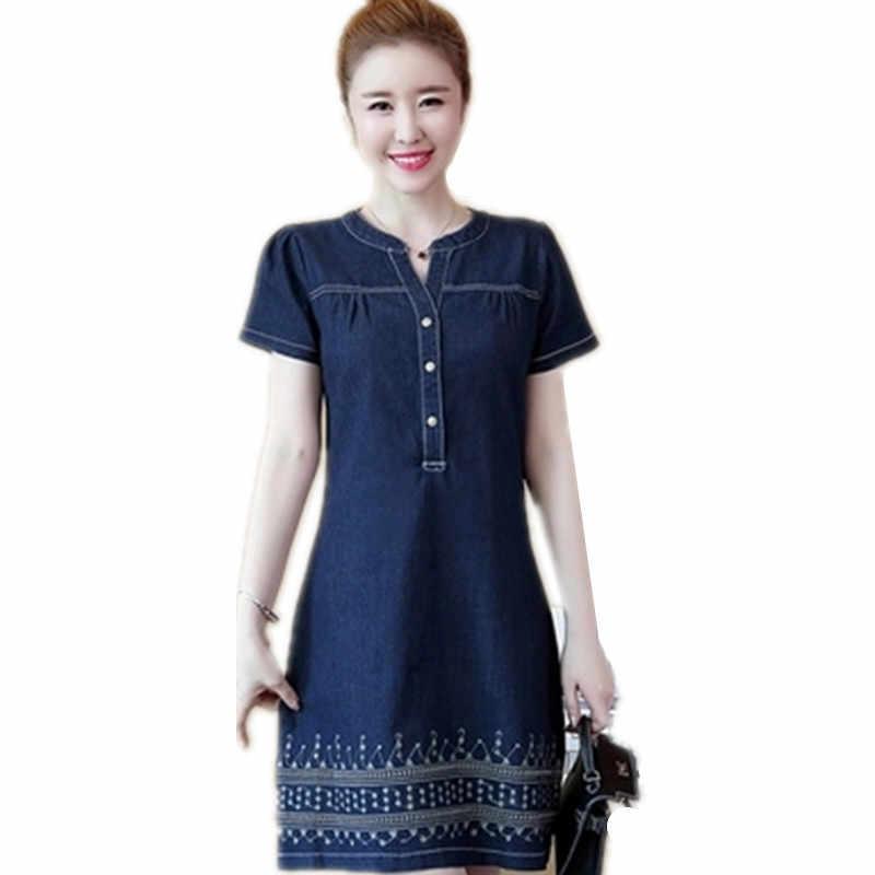 Летние джинсы платье 2019 новые с коротким рукавом v-образным вырезом повседневные женские короткие джинсовые платья Плюс Размер S ~ 4XL 5XL Туника 434