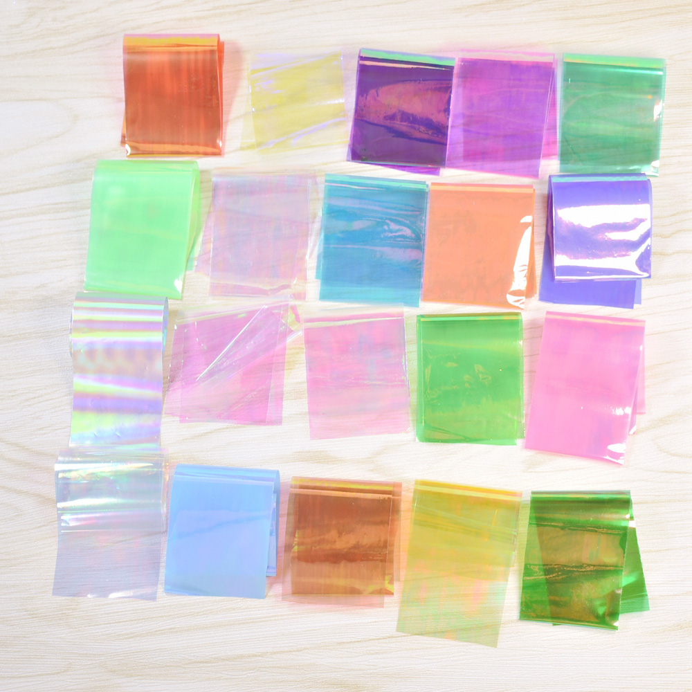 20pcs/set Starry Sky Mix Magic Candy Colorful Nail Foil film Nail Art Broken Glass Sticker Decal For Polish Care DIY Nail Art 10pcs pack 2mm mix colors rolls metallic adhesive striping tape wide line diy nail art tips strip sticker decal decoration kit