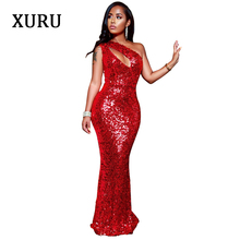 XURU new red sequins mermaid dress elegant fashion sexy sleeveless bohemian style flannel sequin