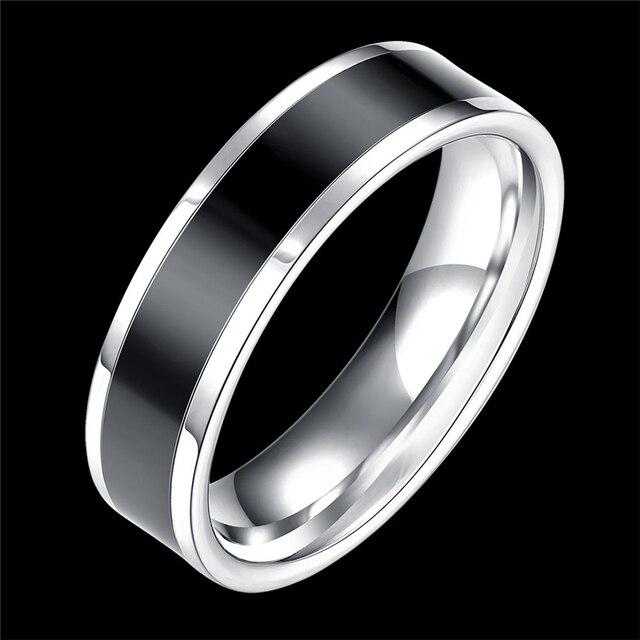 c4f0d335d16c € 0.95 25% de DESCUENTO|Aliexpress.com: Comprar Muchacho de los hombres  negro titanio anillo de acero inoxidable anillos de plata bague homme  anillo ...