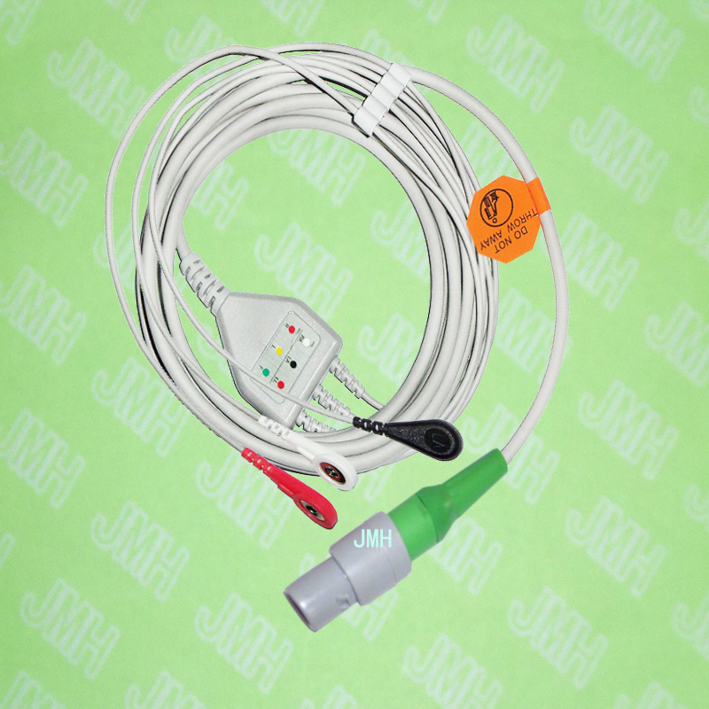 Compatible with Redel 6pin Creative PC9000,UP6000 ECG Machine the one-piece 3 lead cable and snap leadwire,AHA or IEC.Compatible with Redel 6pin Creative PC9000,UP6000 ECG Machine the one-piece 3 lead cable and snap leadwire,AHA or IEC.