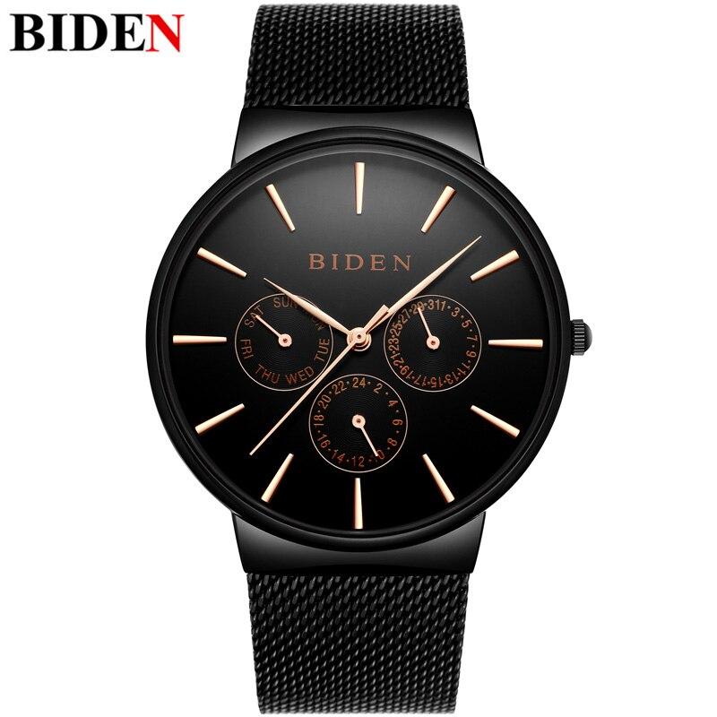 2017 Top Luxury BIDEN Wrist Watches Men Stainless Steel Mesh Strap Quartz-watch Date Fashion Simple Stylish Thin Dial Clock Men
