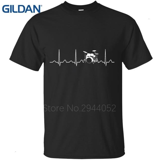 e19f406e38f10 Crear mi propia camiseta diseños Jersey Camiseta cuello redondo retro  batería negro Heartbeat ECG hombres camisetas