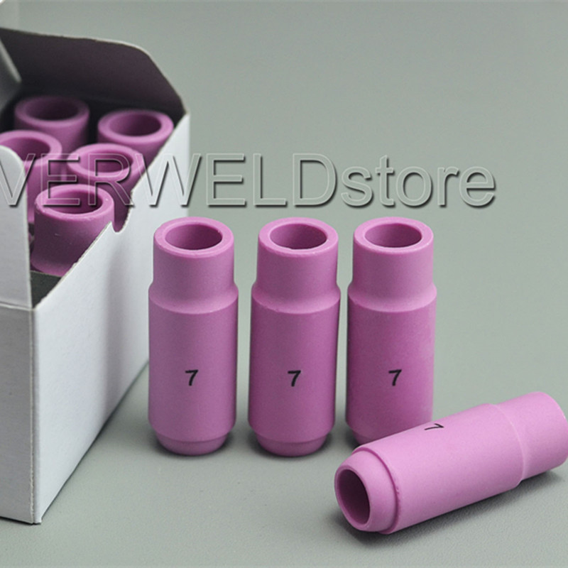 TIG Alumina Nozzles Gas Lens Cup #7 10N47 Fit TIG Welding Torch Consumables SR PTA DB WP 17 18 26 Series,10PK chinese brand welding tig torch body tig consumables manager recommended fit sr wp17 18 26 67pk