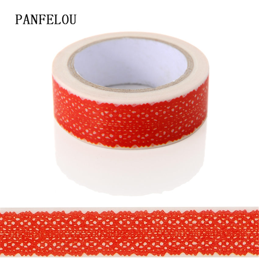 PANFELOU 1.5CMx10M Red Bud Silk Dividing  Stickers Border Separation Adhesive  Paper Washi Tape DIY Scrapbooking Hand Account