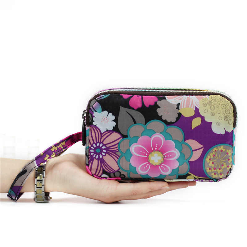 New 2016 Summer Canvas Color Flower Large Capacity Light  Weight Women Bag Day Clutch Cartoon Printing Zipper Hand Bag Wallet wristlet