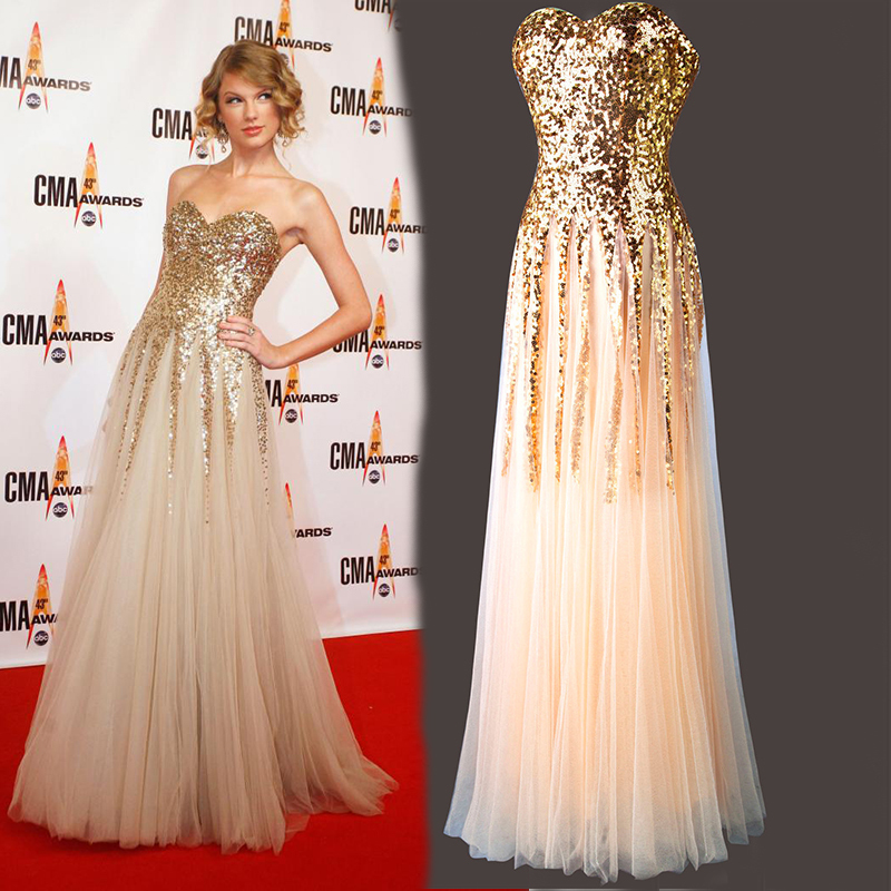 Free Shipping robe de soiree a-line champagne Sweetheart Sequined Long Prom gown 2018 Formal party gowns   bridesmaid     dresses