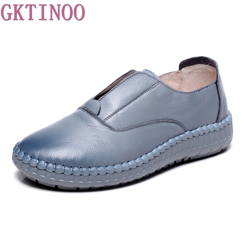 GKTINOO 2018 Genuine Leather Flat Shoes Woman Hand-sewn Loafers Cowhide Flexible Spring Casual Shoes Women Flats Women Shoes