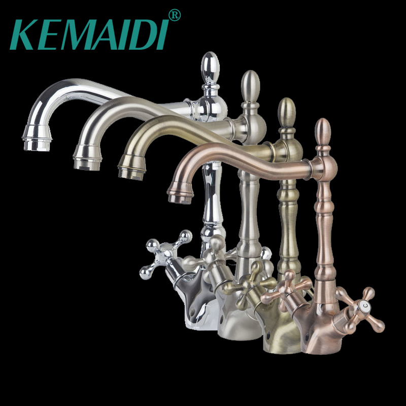 все цены на KEMAIDI Bathroom Faucet Solid Brass  Hot And Cold MixerAntique Copper Faucets Mixers &Taps Swivel Water Tap  Dual Handles