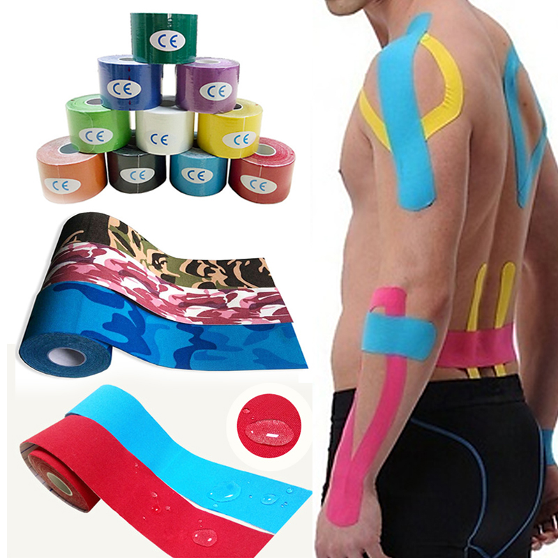 Professional Sport Elastic Tape Roll Physio Muscle Care Strain Injury Support Cotton Multi-Color Waterproof Muscle Sticky 5M herbal muscle