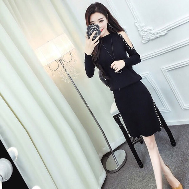 KYMAKUTU Fashion Two Piece Sets Hollow Out Pearl Knitted Pullovers Sweater+Beaded Split Skirt Suit Women Clothing Women's Sets