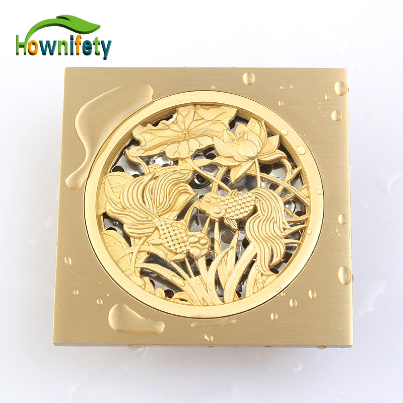 10cm x 10cm Soild Brass Square Floor Drain Bath Shower Drainer Gold Polished